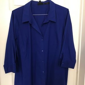 Blue Mid Sleeve Button-Front Shirt